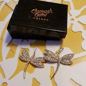 Dragonfly Rhinestone Dangle Silver Earrings